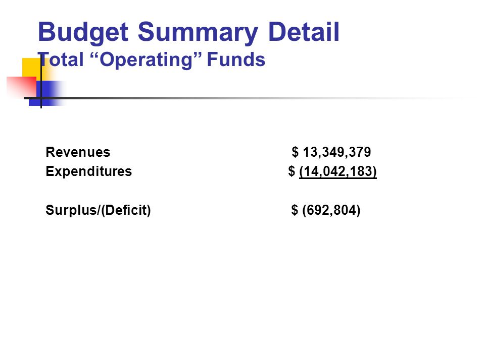 Revenues $ 13,349,379 Expenditures $ (14,042,183) Surplus/(Deficit) $ (692,804) Budget Summary Detail Total Operating Funds
