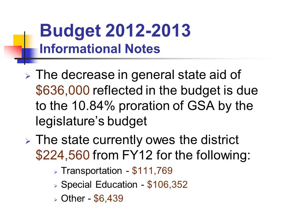 The decrease in general state aid of $636,000 reflected in the budget is due to the 10.84% proration of GSA by the legislatures budget The state currently owes the district $224,560 from FY12 for the following: Transportation - $111,769 Special Education - $106,352 Other - $6,439 Budget 2012-2013 Informational Notes