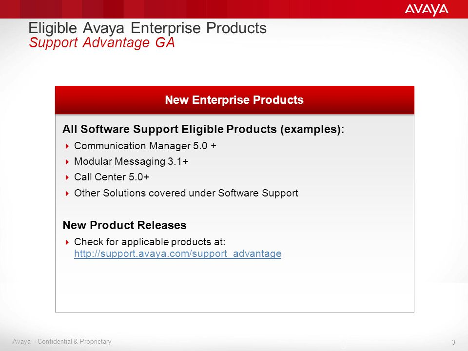 3 Avaya – Confidential & Proprietary 3 New Enterprise Products All Software Support Eligible Products (examples): Communication Manager 5.0 + Modular