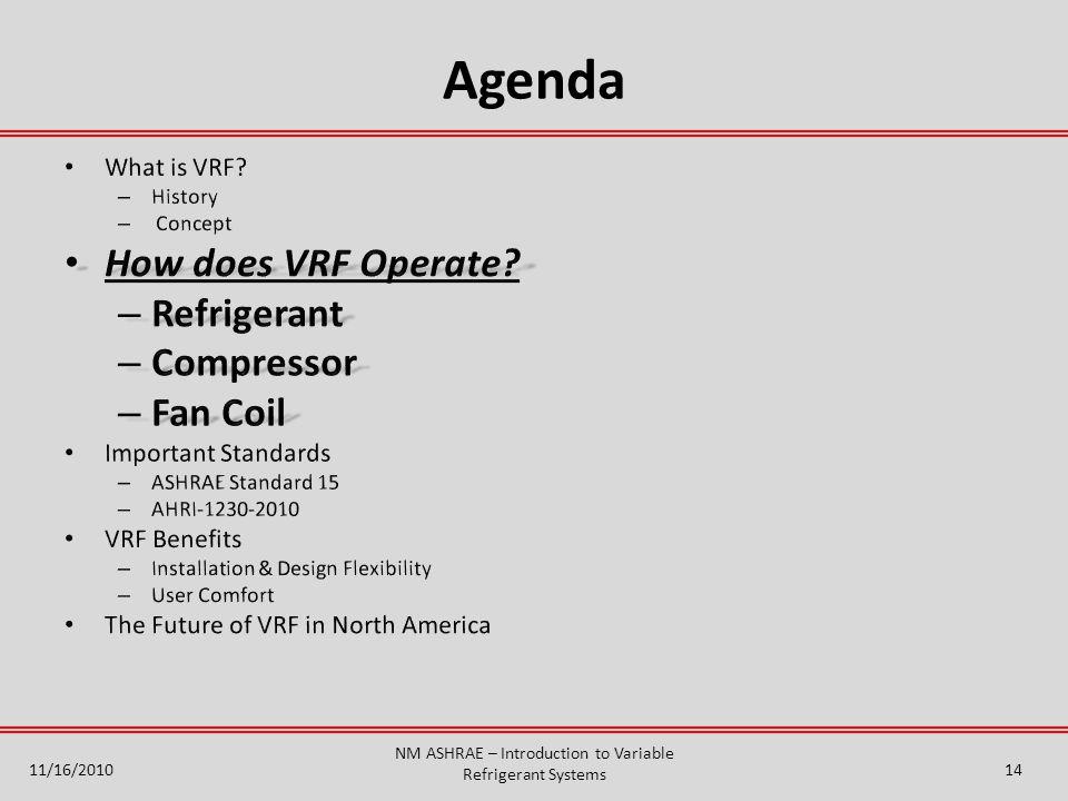 Agenda NM ASHRAE – Introduction to Variable Refrigerant Systems 11/16/201014