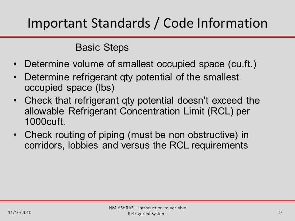 Basic Steps Determine volume of smallest occupied space (cu.ft.) Determine refrigerant qty potential of the smallest occupied space (lbs) Check that r