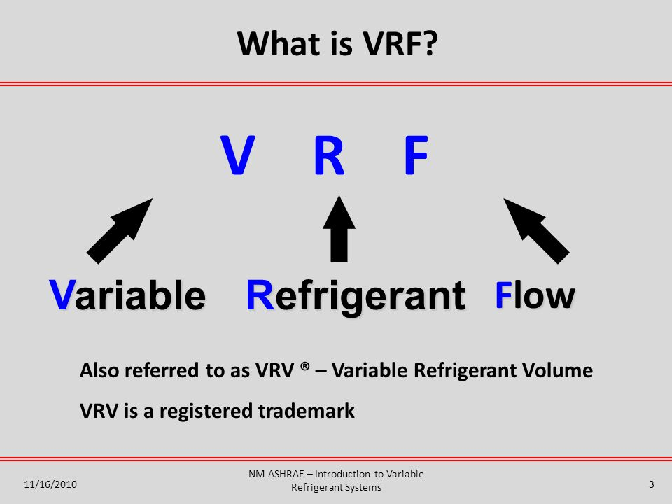 3 V R F What is VRF.