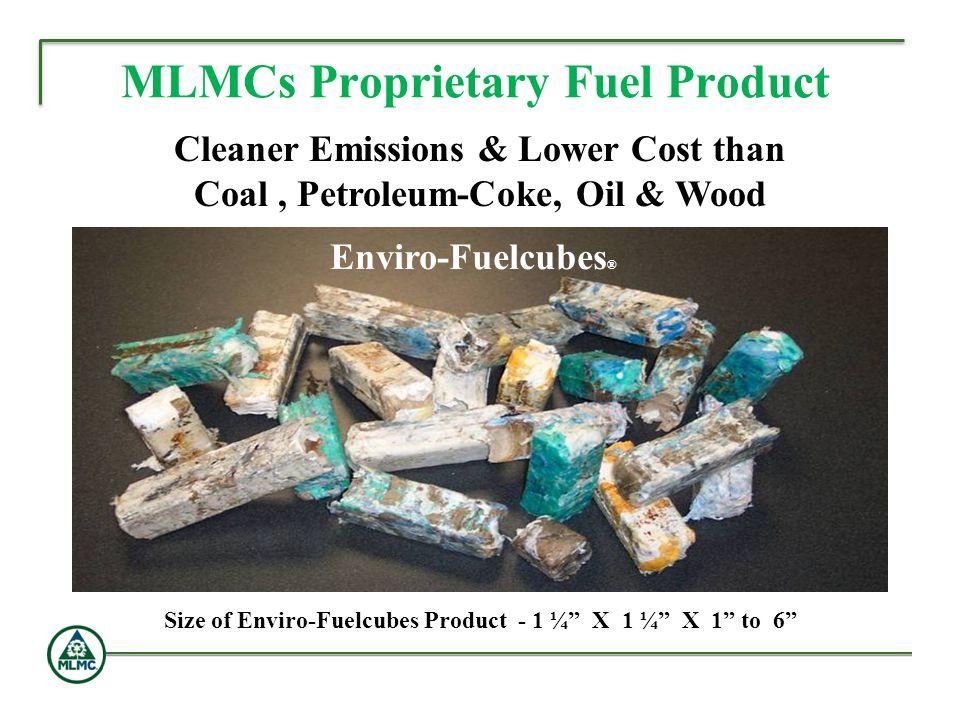 MLMCs Proprietary Fuel Product Cleaner Emissions & Lower Cost than Coal, Petroleum-Coke, Oil & Wood Enviro-Fuelcubes ® Size of Enviro-Fuelcubes Produc