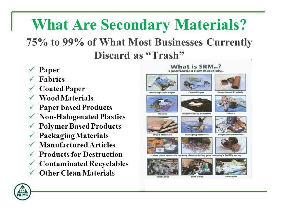 75% to 99% of What Most Businesses Currently Discard as Trash What Are Secondary Materials? Paper Fabrics Coated Paper Wood Materials Paper based Prod
