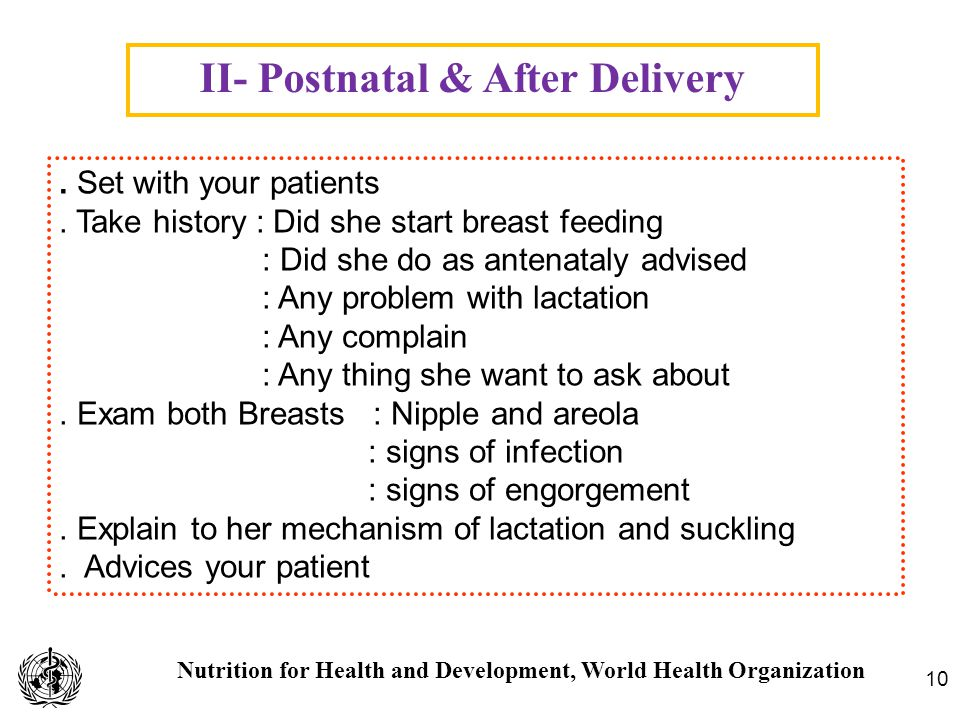 Nutrition for Health and Development, World Health Organization II- Postnatal & After Delivery 10. Set with your patients. Take history : Did she star