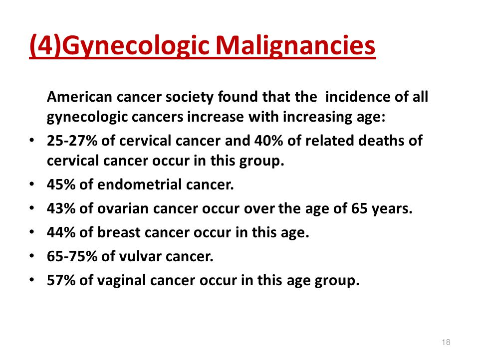 (4)Gynecologic Malignancies American cancer society found that the incidence of all gynecologic cancers increase with increasing age: 25-27% of cervic