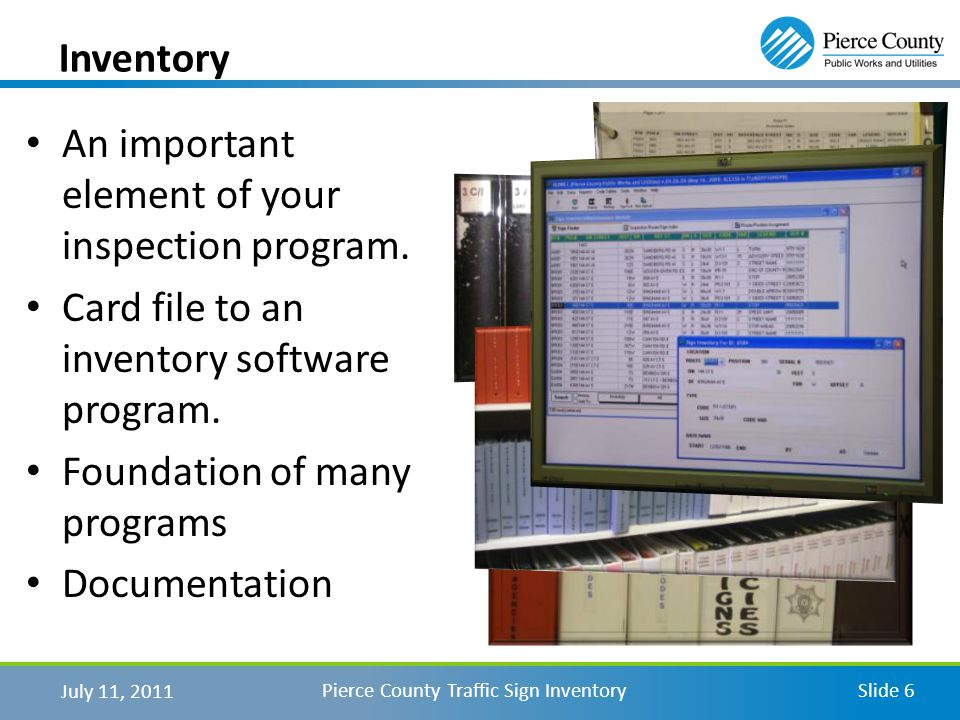 An important element of your inspection program. Card file to an inventory software program.
