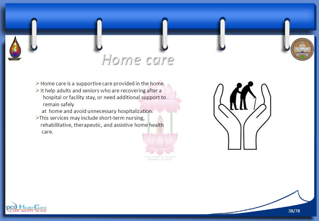 Home care is a supportive care provided in the home.