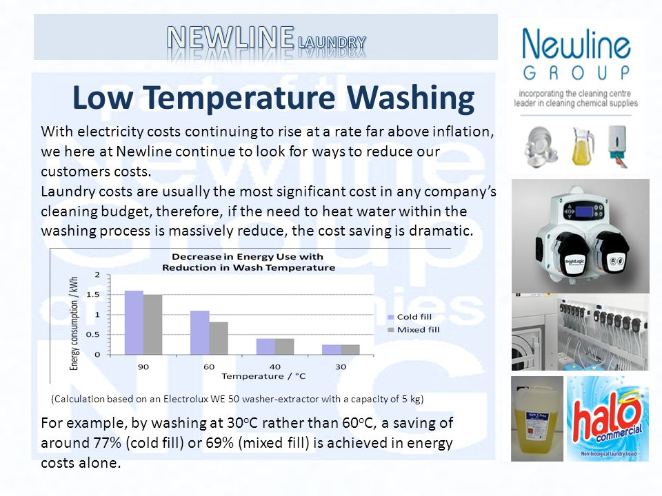 Low Temperature Washing With electricity costs continuing to rise at a rate far above inflation, we here at Newline continue to look for ways to reduce our customers costs.