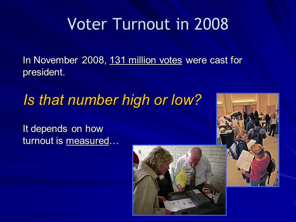 Voter Turnout in 2008 In November 2008, 131 million votes were cast for president.