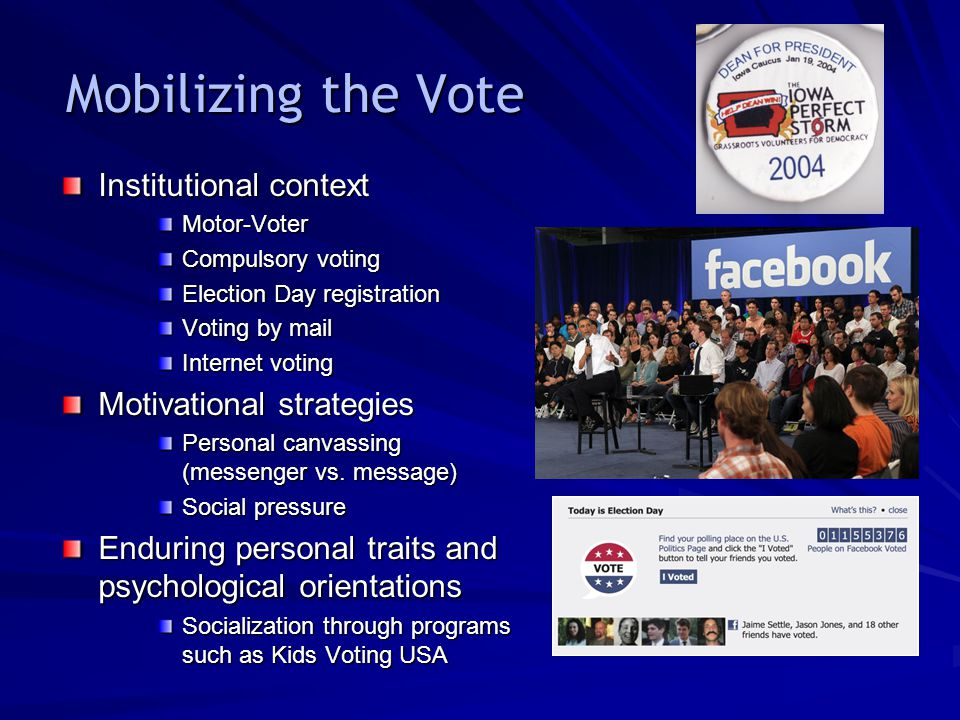 Mobilizing the Vote Institutional context Motor-Voter Compulsory voting Election Day registration Voting by mail Internet voting Motivational strategies Personal canvassing (messenger vs.