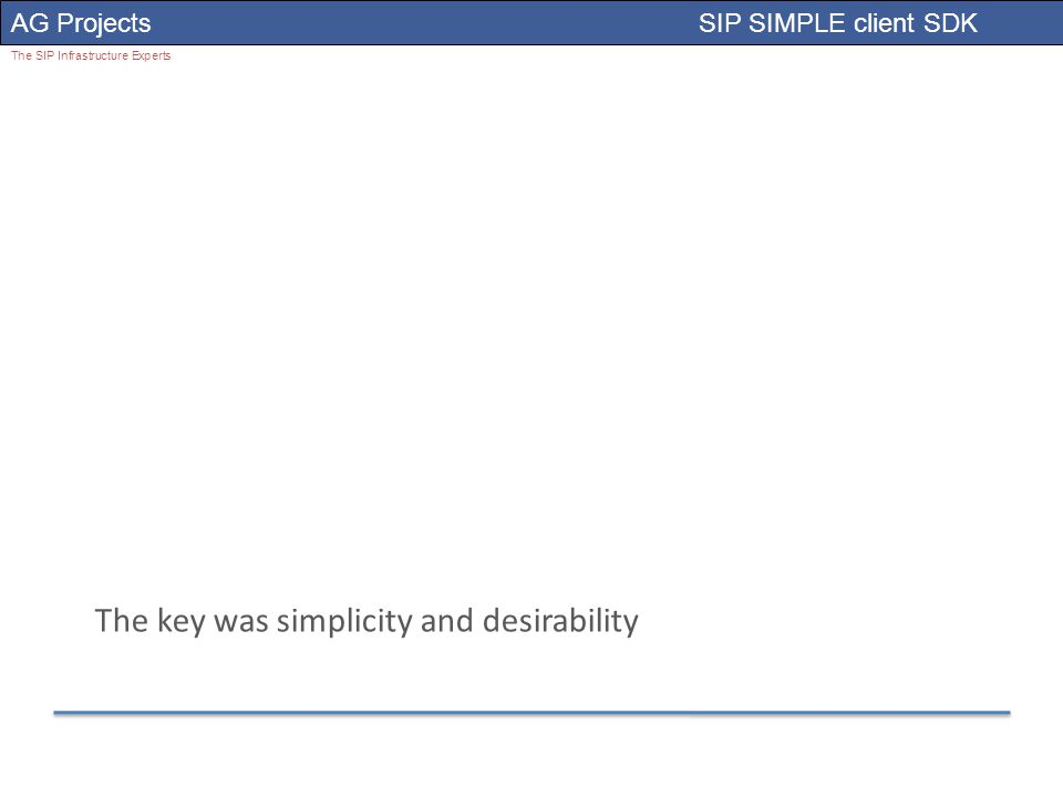 AG Projects SIP SIMPLE client SDK The SIP Infrastructure Experts The key was simplicity and desirability