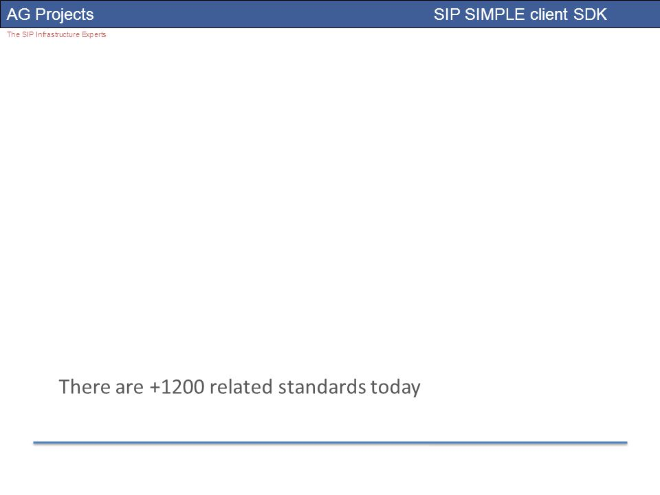 AG Projects SIP SIMPLE client SDK The SIP Infrastructure Experts There are +1200 related standards today