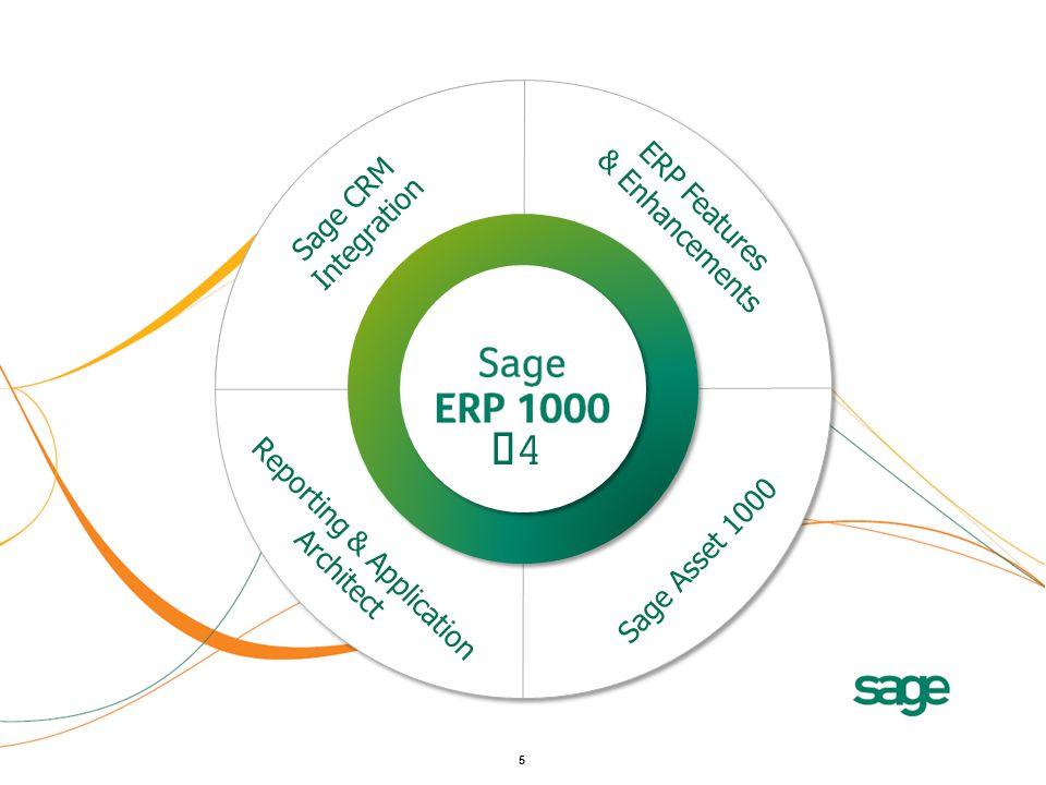 6 Sage CRM Integration Reporting & Application Architect ERP Features & Enhancements Sage Asset 1000 V4V4