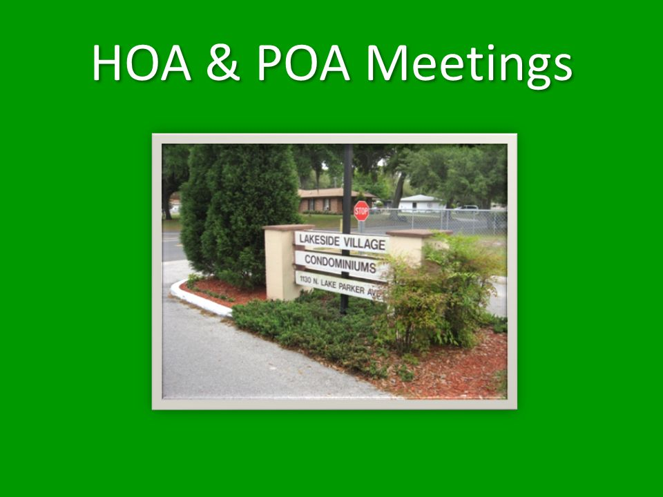 HOA & POA Meetings