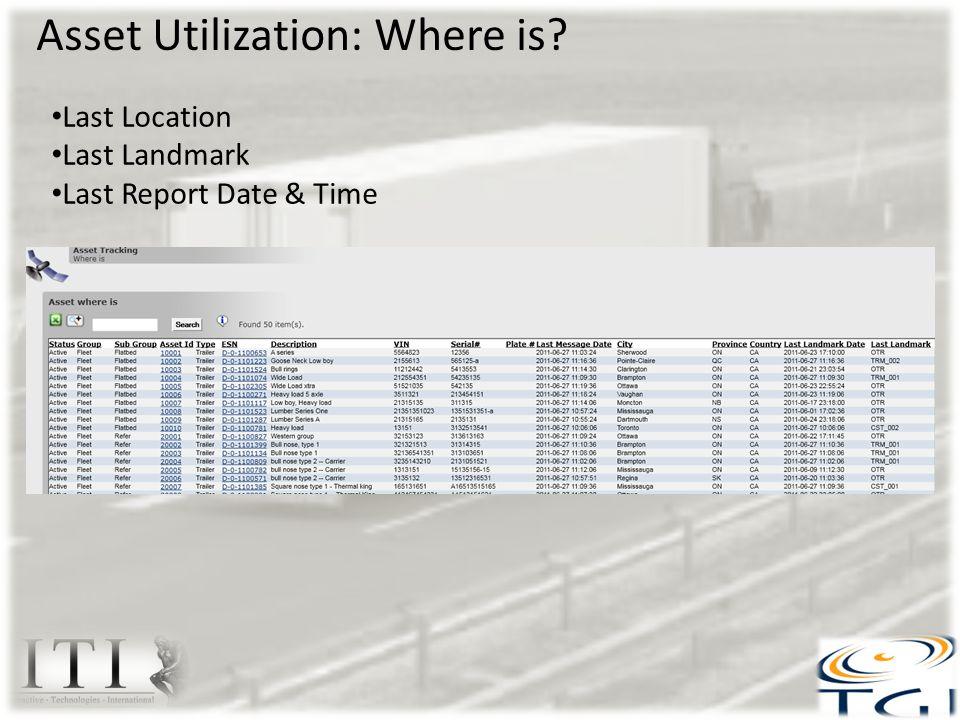 Asset Utilization: Where is? Last Location Last Landmark Last Report Date & Time