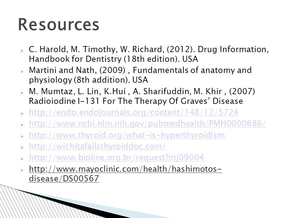 C. Harold, M. Timothy, W. Richard, (2012).
