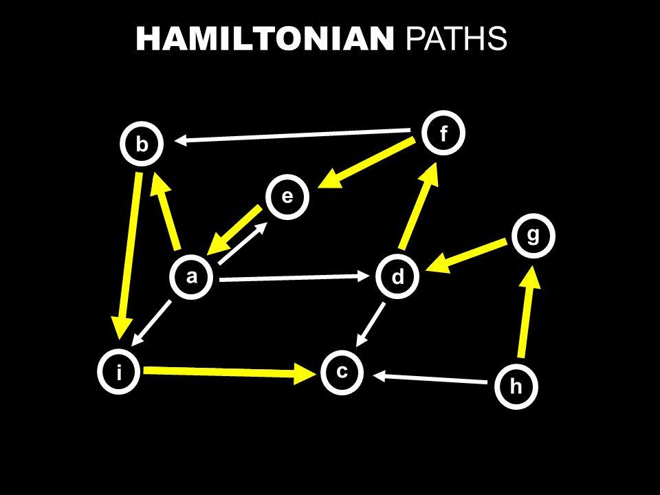 HAMILTONIAN PATHS b a e c d f h i g