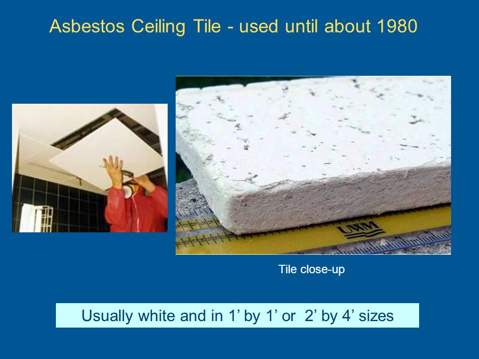 Asbestos Ceiling Tile - used until about 1980 Usually white and in 1 by 1 or 2 by 4 sizes Tile close-up