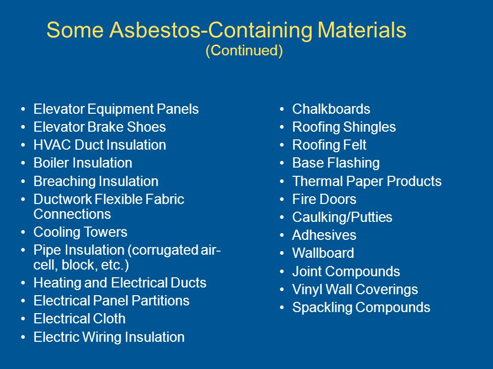 Some Asbestos-Containing Materials (Continued) Chalkboards Roofing Shingles Roofing Felt Base Flashing Thermal Paper Products Fire Doors Caulking/Putt