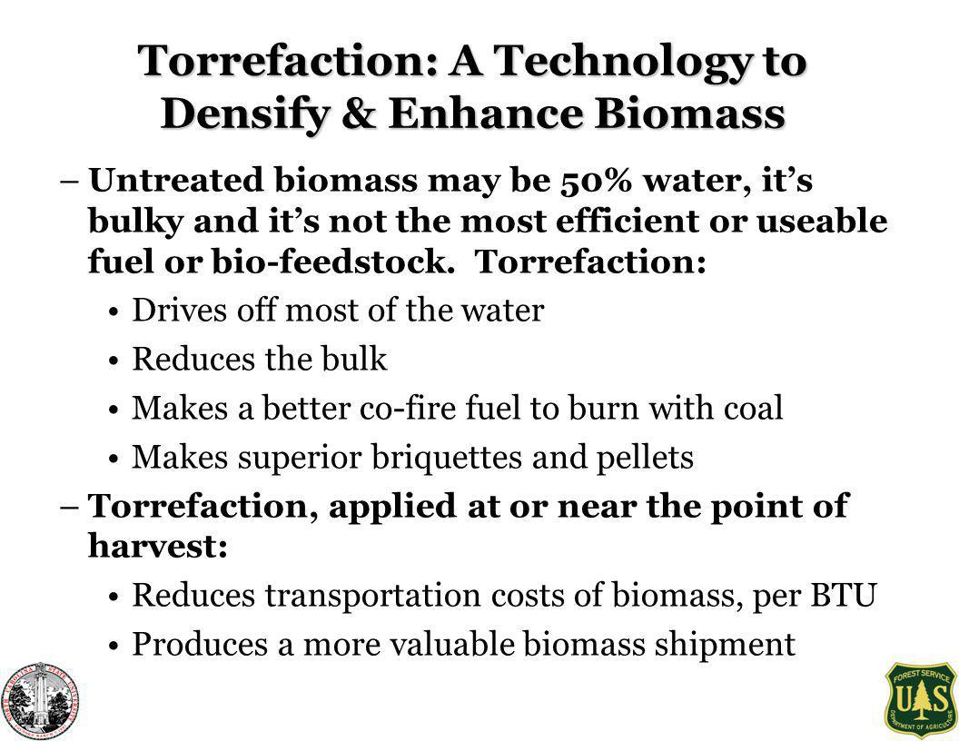 Torrefaction: A Technology to Densify & Enhance Biomass –Untreated biomass may be 50% water, its bulky and its not the most efficient or useable fuel or bio-feedstock.