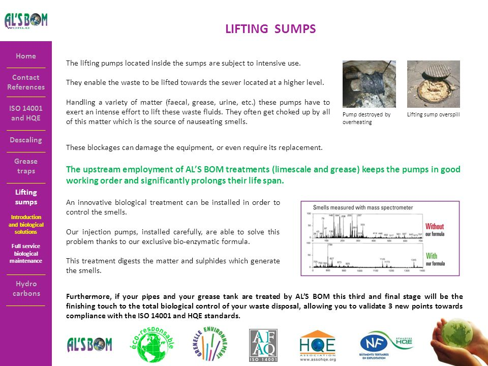 Contact References Home ISO 14001 and HQE LIFTING SUMPS The lifting pumps located inside the sumps are subject to intensive use.