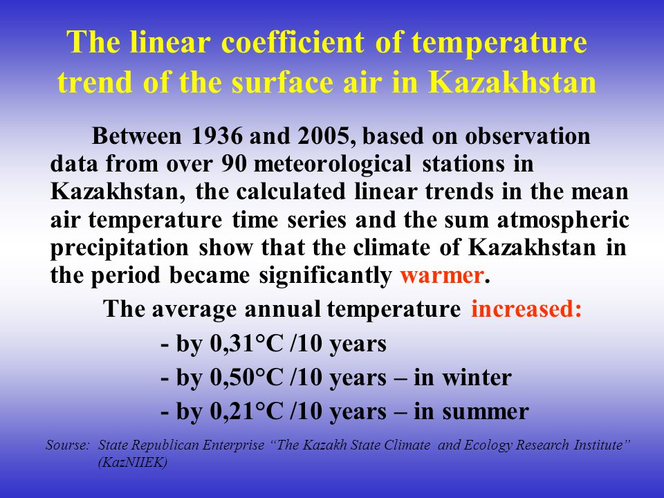 The linear coefficient of temperature trend of the surface air in Kazakhstan Between 1936 and 2005, based on observation data from over 90 meteorologi