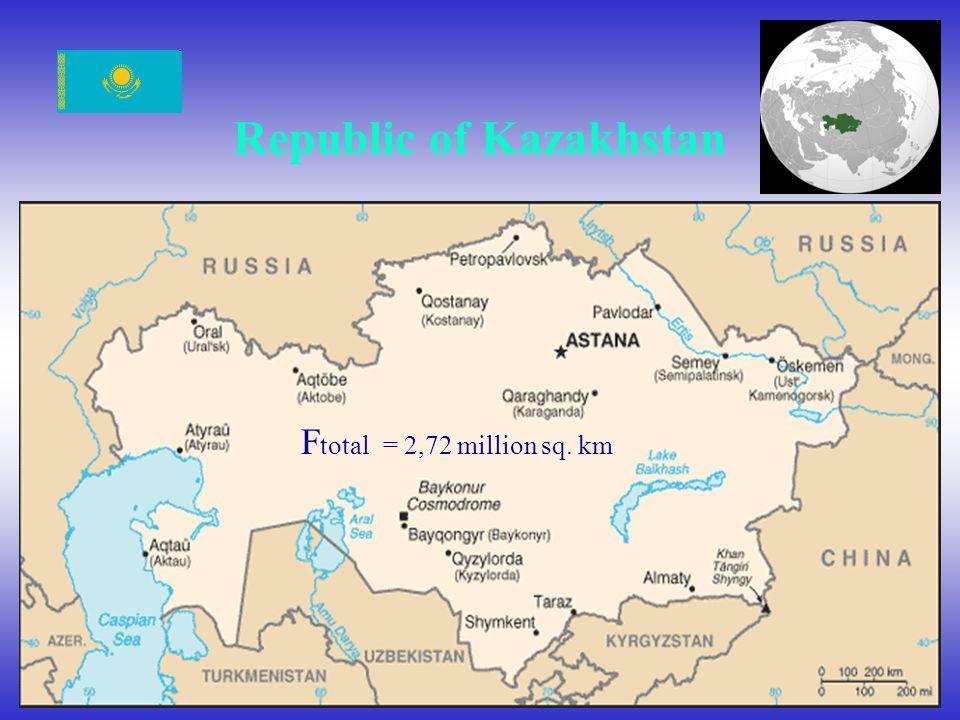Republic of Kazakhstan F total = 2,72 million sq. km