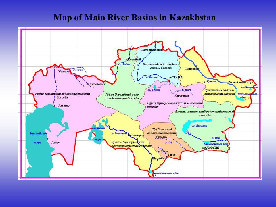 Map of Main River Basins in Kazakhstan