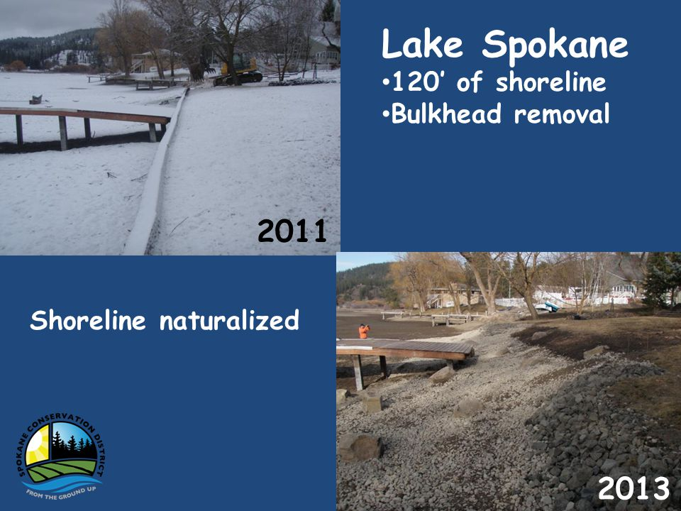 Lake Spokane 120 of shoreline Bulkhead removal Shoreline naturalized
