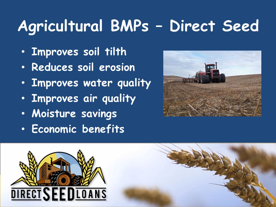 Agricultural BMPs – Direct Seed Improves soil tilth Reduces soil erosion Improves water quality Improves air quality Moisture savings Economic benefits