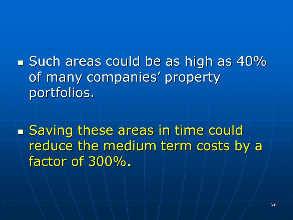 59 Such areas could be as high as 40% of many companies property portfolios.