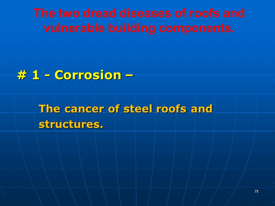 71 The two dread diseases of roofs and vulnerable building components.