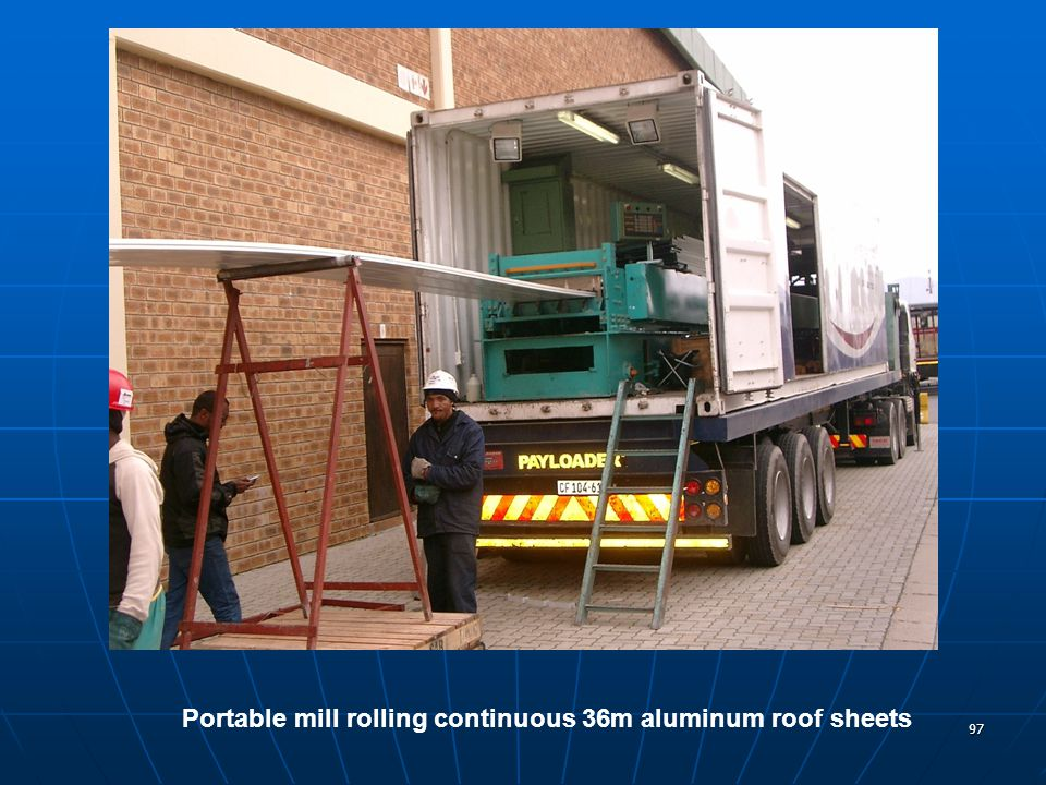 97 Portable mill rolling continuous 36m aluminum roof sheets