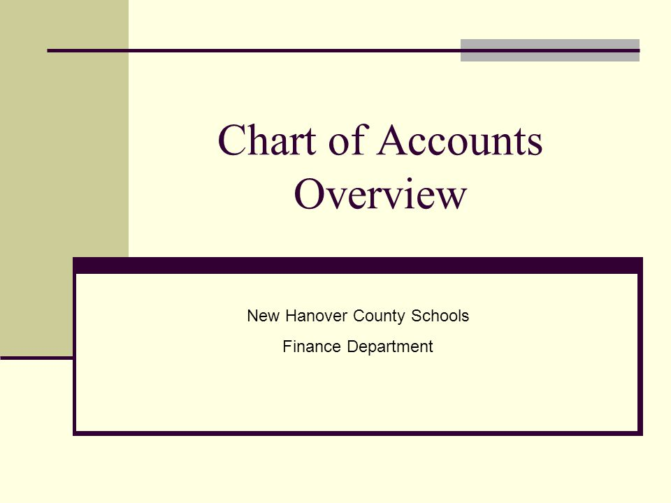 Chart of Accounts Overview New Hanover County Schools Finance Department