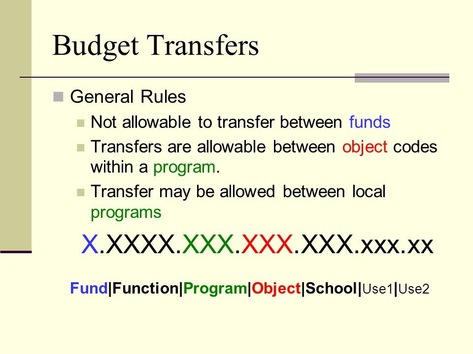 Budget Transfers General Rules Not allowable to transfer between funds Transfers are allowable between object codes within a program.