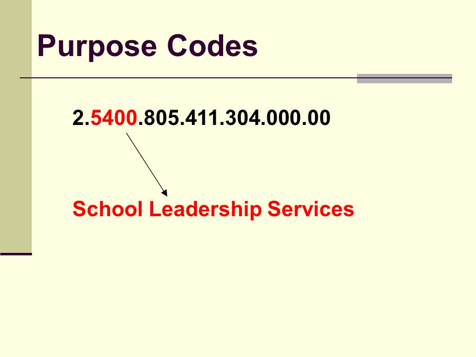 School Leadership Services Purpose Codes