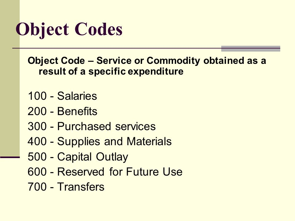 Object Codes Object Code – Service or Commodity obtained as a result of a specific expenditure Salaries Benefits Purchased services Supplies and Materials Capital Outlay Reserved for Future Use Transfers