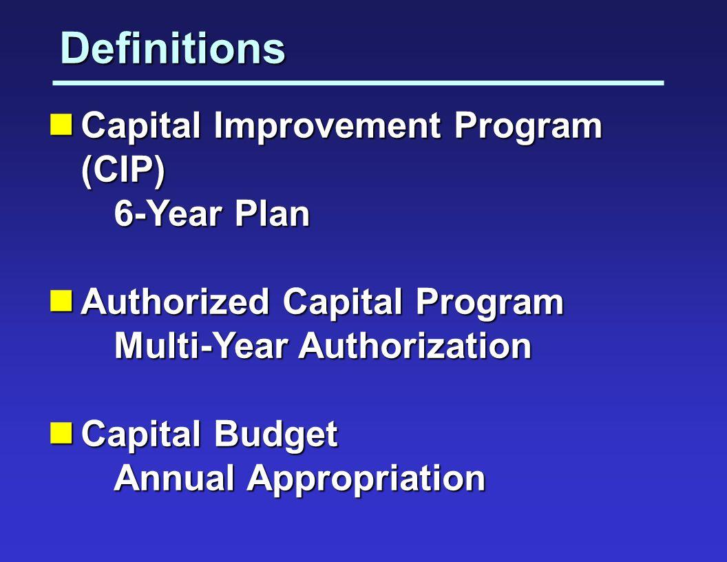 Definitions Capital Improvement Program (CIP) Capital Improvement Program (CIP) 6-Year Plan 6-Year Plan Authorized Capital Program Authorized Capital