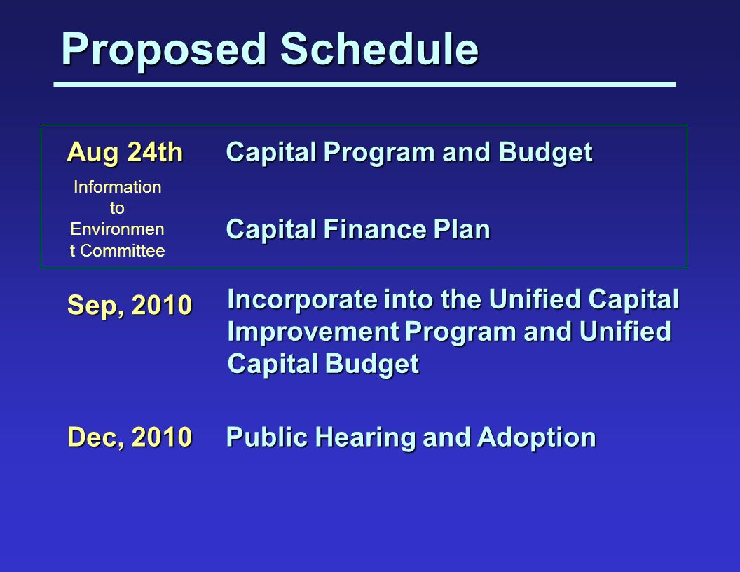 Proposed Schedule Capital Finance Plan Public Hearing and Adoption Dec, 2010 Aug 24th Capital Program and Budget Sep, 2010 Incorporate into the Unified Capital Improvement Program and Unified Capital Budget Information to Environmen t Committee