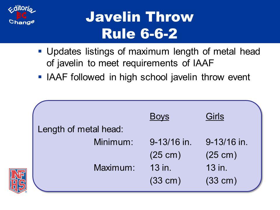 Javelin Throw Rule 6-6-2 Updates listings of maximum length of metal head of javelin to meet requirements of IAAF IAAF followed in high school javelin throw event BoysGirls Length of metal head: Minimum:9-13/16 in.9-13/16 in.(25 cm) Maximum:13 in.13 in.(33 cm)