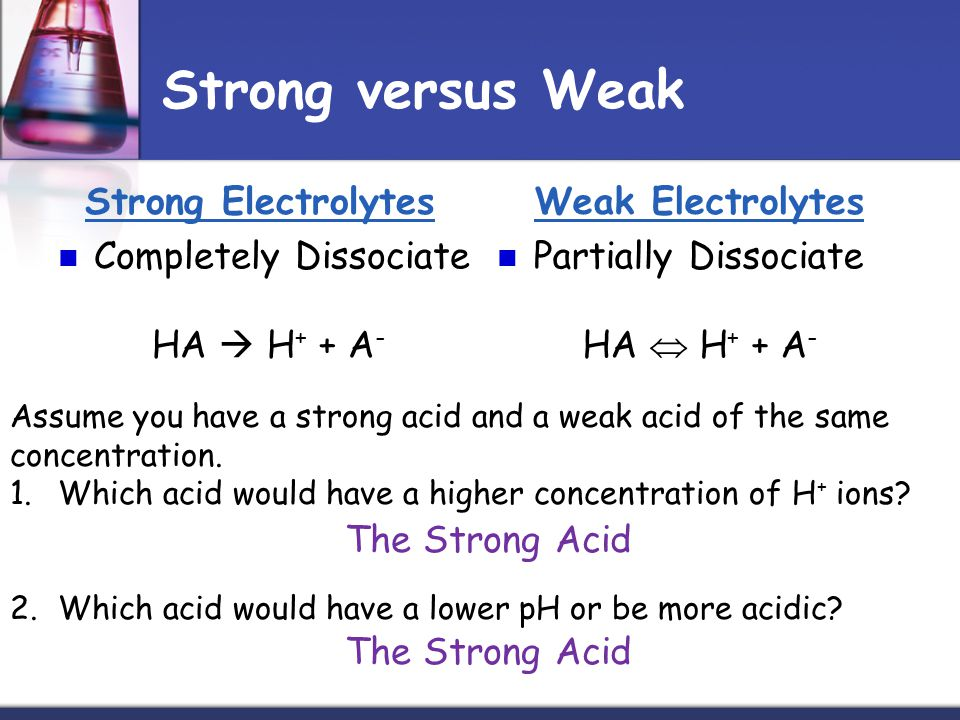 Strong versus Weak Strong Electrolytes Completely Dissociate HA H + + A - Weak Electrolytes Partially Dissociate HA H + + A - Assume you have a strong acid and a weak acid of the same concentration.