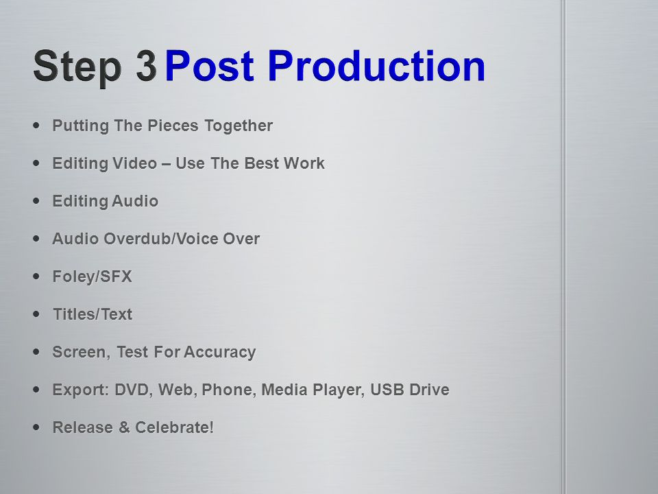 Putting The Pieces Together Putting The Pieces Together Editing Video – Use The Best Work Editing Video – Use The Best Work Editing Audio Editing Audi