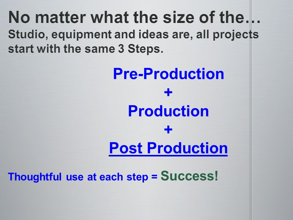Pre-Production + Production + Post Production Thoughtful use at each step = Success!