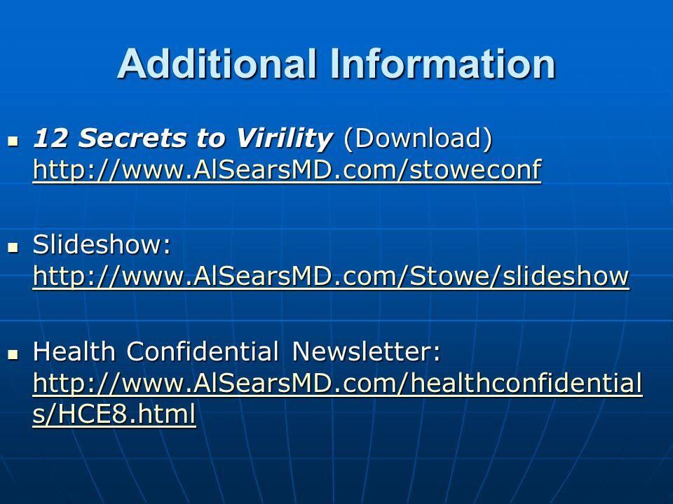 Resources Websites: www.AlSearsMD.com www.WellnessResearch.org