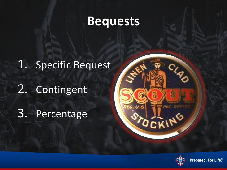 Bequests 1. Specific Bequest 2. Contingent 3. Percentage