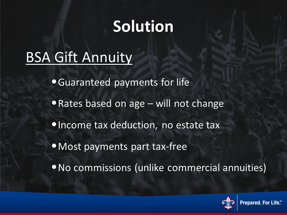 Solution BSA Gift Annuity BSA Gift Annuity Guaranteed payments for life Guaranteed payments for life Rates based on age – will not change Rates based