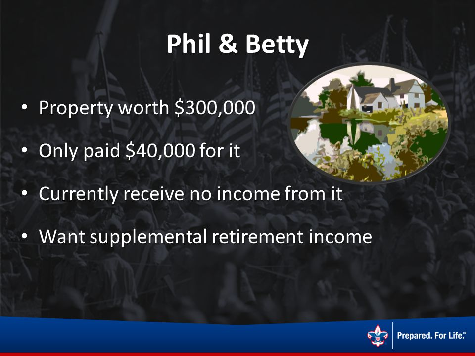 Phil & Betty Property worth $300,000 Property worth $300,000 Only paid $40,000 for it Only paid $40,000 for it Currently receive no income from it Cur