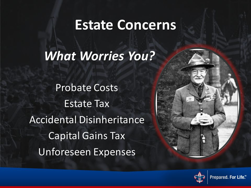 What Worries You? Estate Concerns Probate Costs Estate Tax Accidental Disinheritance Capital Gains Tax Unforeseen Expenses