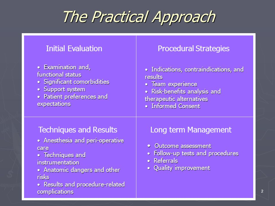 BI 2 Practical Approach Tracheaobronchial Aspergillosis 2 The Practical Approach Initial EvaluationProcedural Strategies Techniques and ResultsLong term Management Examination and, functional status Examination and, functional status Significant comorbidities Significant comorbidities Support system Support system Patient preferences and expectations Patient preferences and expectations Indications, contraindications, and results Indications, contraindications, and results Team experience Team experience Risk-benefits analysis and therapeutic alternatives Risk-benefits analysis and therapeutic alternatives Informed Consent Informed Consent Anesthesia and peri-operative care Anesthesia and peri-operative care Techniques and instrumentation Techniques and instrumentation Anatomic dangers and other risks Anatomic dangers and other risks Results and procedure-related complications Results and procedure-related complications Outcome assessment Outcome assessment Follow-up tests and procedures Follow-up tests and procedures Referrals Referrals Quality improvement Quality improvement